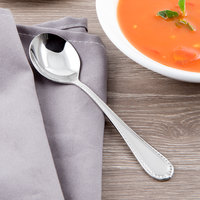 Reed & Barton RB110-016 Berkshire Matte 6 1/8 inch 18/10 Stainless Steel Extra Heavy Weight Bouillon Spoon - 12/Case