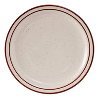 Tuxton TBS-009 Bahamas 9 1/2 inch Brown Speckle Narrow Rim China Plate - 24/Case