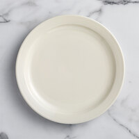 Choice 10 1/2 inch Ivory (American White) Narrow Rim Stoneware Plate - 12/Case