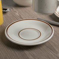 Tuxton TBS-002 Bahamas 6 inch Brown Speckle Coupe China Saucer - 36/Case