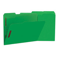 Universal UNV13522 Letter Size Fastener Folder with 2 Fasteners - Reinforced 1/3 Cut Assorted Tab, Green - 50/Box