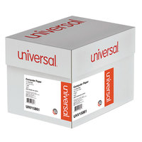 Universal UNV15861 11 inch x 14 7/8 inch Blue Bar Case of 18# Perforated Continuous Print Computer Paper - 2600/Sheets