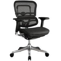 Eurotech Seating ME5ERGLTLOW-N15 Ergoelite Black Mesh Mid Back Synchro Tilt Office Chair