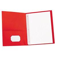 Universal UNV57118 Letter Size 2-Pocket Paper Pocket Folder - Tang Fasteners, Red - 25/Box
