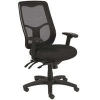 Eurotech Seating MFHB9SL-5806 Apollo Black Dove Fabric / Mesh Multi-Function High Back Swivel Office Chair