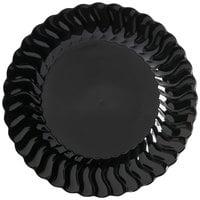 Fineline Flairware 207-BK 7 1/2 inch Black Plastic Plate - 18 / Pack