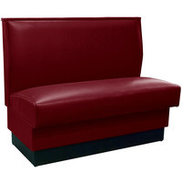 American Tables & Seating QAS-42 42 inch Sangria Plain Single Back Fully Upholstered Booth - Quick Ship