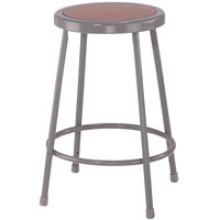 National Public Seating 6224 24 inch Gray Hardboard Round Lab Stool