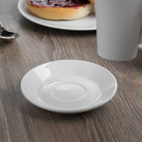 World Tableware BW-1160 Basics 4 1/2 inch Bright White Porcelain Espresso Saucer - 36/Case