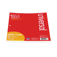 Universal UNV20923 8 1/2 inch x 11 inch White Pack of Wide Rule Lined Filler paper   - 200/Pack