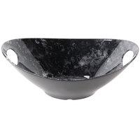 Tablecraft MBM145BM Frostone 3 Qt. Black Marble Oblong Melamine Bowl with Handles