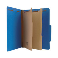 Universal UNV10301 Letter Size Classification Folder - 6-Section with 2/5 Cut Right of Center Tab, Cobalt Blue - 10/Box