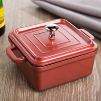 Tablecraft CWDCC552DR Dusty Rose Diecast Aluminum Mini Square Cocotte