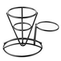 Clipper Mill by GET 4-361635 3 1/4 inch x 5 inch Black Powder Coated Iron Cone Basket with Ramekin Holder