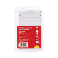Universal UNV60101 3 7/16 inch x 9/16 inch White Typewriter-Compatible File Folder Labels - 248/Pack