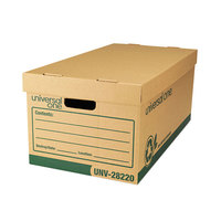 Universal UNV28220 24 inch x 12 inch x 10 inch Heavy-Duty Kraft Letter / Legal File Storage Box with Lid - 12/Case