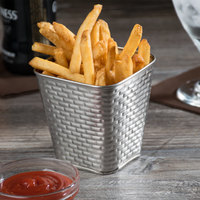Tablecraft GTSS4 Brickhouse Collection 15 oz. Stainless Steel Square Fry Cup