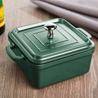 Tablecraft CWDCC552EG Emerald Green Diecast Aluminum Mini Square Cocotte