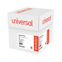 Universal UNV15807 9 1/2 inch x 11 inch White Case of 20# Perforated Continuous Print Computer Paper - 2300/Sheets