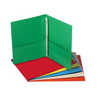 Universal UNV57113 Letter Size 2-Pocket Paper Pocket Folder - Tang Fasteners, Assorted Color - 25/Box