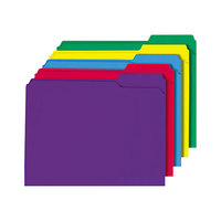 Universal UNV16166 Letter Size File Folder - Standard Height with Reinforced 1/3 Cut Assorted Tab, Assorted Color   - 100/Box