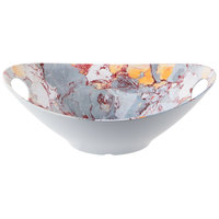 Tablecraft MBM145TM Frostone 3 Qt. Tuscan Marble Oblong Melamine Bowl with Handles
