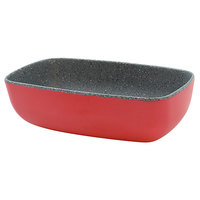 Tablecraft MGN70RDGNT Frostone Naturals 20 oz. Red/Gray Speckle Rectangular Melamine Bowl