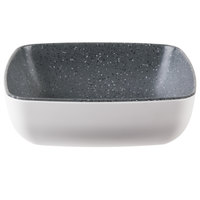 Tablecraft MGN65WHGNT Frostone Naturals 1 qt. White/Gray Speckle Square Melamine Bowl