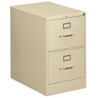 HON 312CPL 310 Series Putty Full-Suspension Two-Drawer Filing Cabinet - 18 1/4 inch x 26 1/2 inch x 29 inch