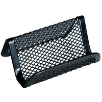 Universal UNV20005 3 7/8 inch x 3 3/8 inch x 2 1/8 inch Black Mesh Metal Business Card Holder
