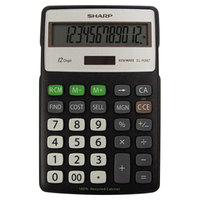 Sharp EL-R287BBK 12-Digit LCD Solar Battery Powered Recycled Series Calculator with Kickstand