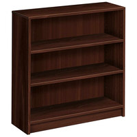 HON 1872N 1870 Series Mahogany 3 Shelf Laminate Wood Bookcase 36 inch x 11 1/2 inch x 36 1/8 inch