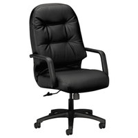 HON 2091SR11T Pillow-Soft Series Black Leather High-Back Swivel Office Chair