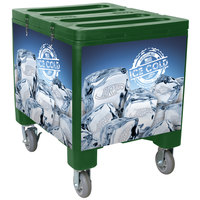 IRP 2000 Green Ice Caddy 200 lb. Mobile Ice Bin / Beverage Merchandiser