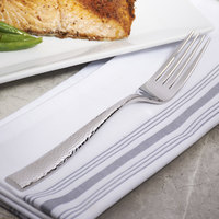 Bon Chef S3906 Scarlett 8 3/8 inch 18/10 Stainless Steel Extra Heavy European Size Dinner Fork - 12/Case