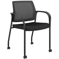 HON IS107NT10 Ignition Series Black Fabric Mobile Stacking Guest Arm Chair