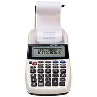 Victor 1205-4 12-Digit Black One-Color Handheld Printing Calculator - 2 Lines Per Second