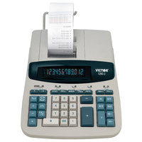 Victor 1260-3 12-Digit Black / Red Two-Color Heavy-Duty Printing Calculator - 4.6 Lines Per Second