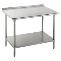 Advance Tabco FSS-365 36 inch x 60 inch 14 Gauge Stainless Steel Commercial Work Table with Undershelf and 1 1/2 inch Backsplash