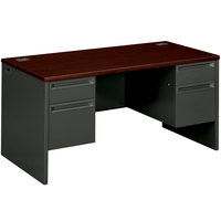 HON 38155NS 38000 Series 60 inch x 30 inch x 29 1/2 inch Mahogany / Charcoal Metal 3/4 Height Double Pedestal Desk