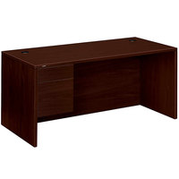 HON 10584LNN 10500 Series 66 inch x 30 inch x 29 1/2 inch Mahogany L Left 3/4 Height Pedestal Desk