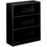HON S42ABCP Black 3 Shelf Metal Bookcase 34 1/2 inch x 12 5/8 inch x 41 inch