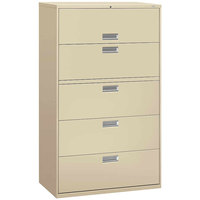 HON 695LL 600 Series Putty Five-Drawer Lateral Filing Cabinet - 42 inch x 19 1/4 inch x 67 inch