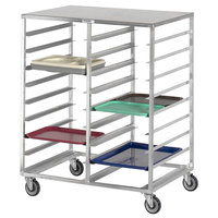 Channel CTR14183 24 Tray Bottom Load Aluminum Cafeteria Tray Rack with Solid Top
