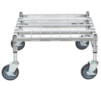 Regency 24 inch x 24 inch Heavy-Duty Mobile Chrome Dunnage Rack with Mat