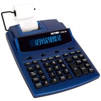 Victor 1225-3A 12-Digit Blue / Red Two-Color Printing Calculator with Antimicrobial Coating - 3 Lines Per Second