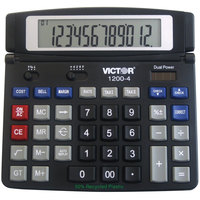 Victor 1200-4 12-Digit LCD Solar Battery Powered Business Desktop Calculator