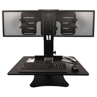 Victor DC350 High Rise Collection 28 inch x 23 inch x 15 1/2 inch Adjustable Tilt Black Wood Dual Monitor Sit-Stand Workstation