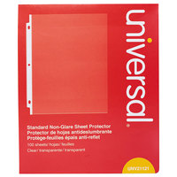 Universal UNV21121 8 1/2 inch x 11 inch Clear Standard Weight Non-Glare Sheet Protector, Letter - 100/Box
