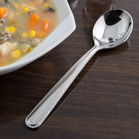 Reed & Barton RB128-016 Stitch 6 1/8 inch 18/10 Stainless Steel Extra Heavy Weight Bouillon Spoon - 12/Case